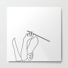 Minimal line drawing Audrey Hepburn smoking white - breakfast at Tiffani Metal Print