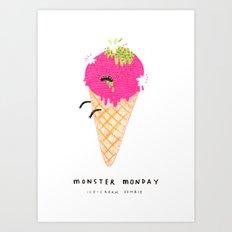 Monster Monday Ice Cream Zombie Art Print