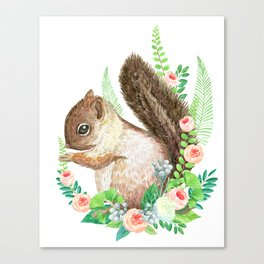 squirrel with flowers Canvas Print