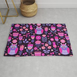 Midnight Pink Purple Owl Pattern Girls Animal Rug