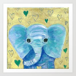 Elephant painting, Nursery Decor, Child's Room Decor, Hearts Painting, Blue, Green, Gold Art Print