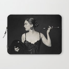 """""""A Noir Night Out"""" - The Playful Pinup - Modern Gothic Twist on Pinup by Maxwell H. Johnson Laptop Sleeve"""