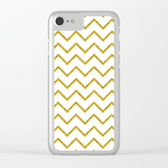 Gold glitter chevron on white - Luxury pattern Clear iPhone Case