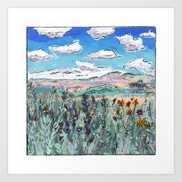 Colorado Plains Landscape Illustration Art Print