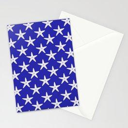 Starfishes (White & Navy Blue Pattern) Stationery Cards