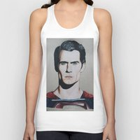 man of steel Tank Tops featuring Superman (Man of Steel) by JMH Art