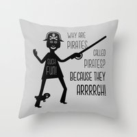 pirates Throw Pillows featuring Pirates by Natallia Pavaliayeva