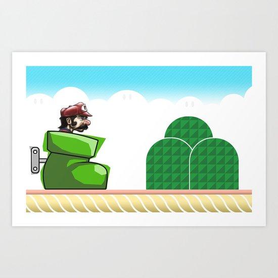 Mario & His Really Big Shoe Art Print