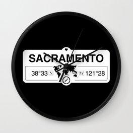 Sacramento California Map GPS Coordinates Artwork Wall Clock