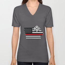 Iowa Firefighter Shield Thin Red Line Flag Unisex V-Neck