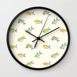Pastel fish pattern Wall Clock