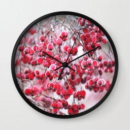 Icy Rowan Red Berries Winter Scene #decor #society6 #buyart Wall Clock
