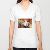 britney spears V-neck T-shirts featuring  britney spears  by mark ashkenazi
