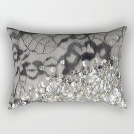 Black Lace and Bling Rectangular Pillow