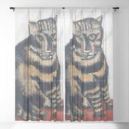 The Tiger Cat Sheer Curtain