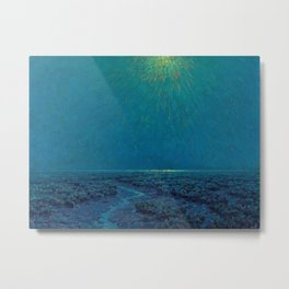 Coast of Tuscany, Italy under a Blue Moon landscape painting by Granville Redmond Metal Print
