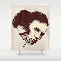 tyler spangler Shower Curtains featuring In Tyler We Trust by Duke Dastardly