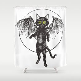 Batcat Rises Shower Curtain