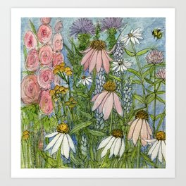 Garden Flowers Bee Blue Sky Nature Art Floral Watercolor Print Art Print