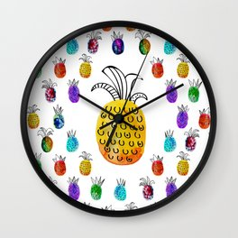 Colorful rainbow pinapple Wall Clock