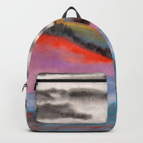 Watercolor abstract landscape 05 Backpack
