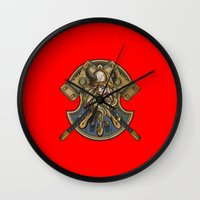 viking Wall Clocks featuring Viking by Spooky Dooky