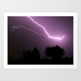 Purple Lightning Night Sky Art Print