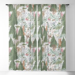 Light Winter Forest Animals Sheer Curtain