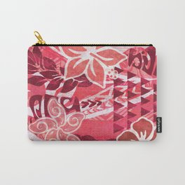 Red Hibiscus Polynesian Tapa Carry-All Pouch