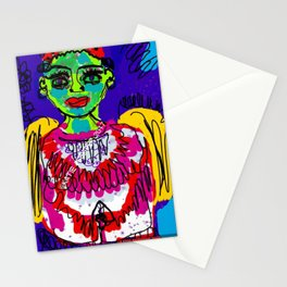 Green Face Angel Digital Drawing Stationery Cards