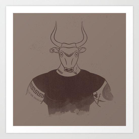 Angry Young Minotaur Art Print