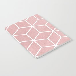 Blush Pink and White - Geometric Textured Cube Design Notebook