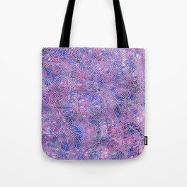 Purple and faux silver swirls doodles Tote Bag