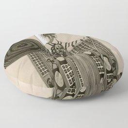 """Art Deco Sepia Illustration """"Athena"""" Floor Pillow"""