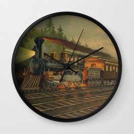 Night Scene on the NY Central Railroad (Currier & Ives) Wall Clock