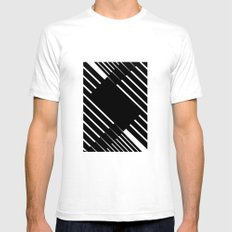 Black and white lines SMALL Mens Fitted Tee White