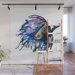 Galaxy Betta Fish Watercolor Wall Mural