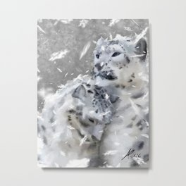 Snowy Leopards Metal Print