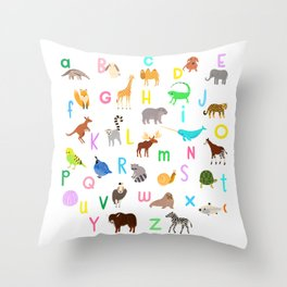 Animal Alphabet Throw Pillow