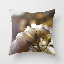 "Flower Art Print - White, Peach, Yellow Print - Shabby Chic Wall Art - Home Decor - ""White Roses"" Throw Pillow"