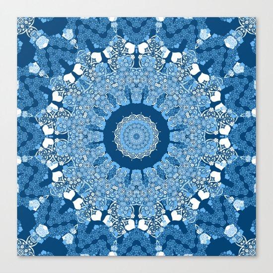 White blue kaleidoscope . Canvas Print