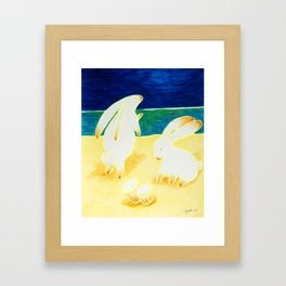 Bongo Bunnies Dancing in the Moonlight on the Beach Framed Art Print