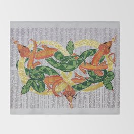 Always  (Dragons and Serpents infinitely entwined around two gold rings on dictionary page) Throw Blanket