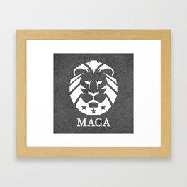 MAGA Make America Great Again USA Lion black grunge Framed Art Print