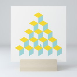 Cubes with Doorway ~ limpet shell blue Mini Art Print