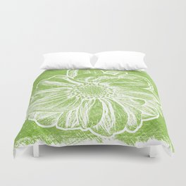 White Flower On Lime Green Crayon Duvet Cover