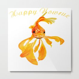 Happy Nowruz Persian New Year Goldfish Isolated Metal Print