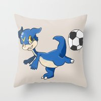 digimon Throw Pillows featuring Digimon - V-mon by Hacha