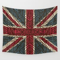 union jack Wall Tapestries featuring Union Jack - Vintage Tribal by ArtLovePassion