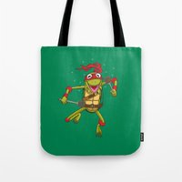 muppet Tote Bags featuring TEENAGE MUPPET NINJA PUPPET by T.a. Bryant